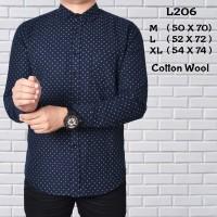 L206 Kemeja Pria Lengan Panjang Cotton Wool Navy Blue Grosir Murah