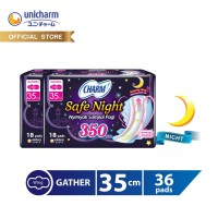 Charm Pembalut Safe Night 35cm Gather 18 pads - 2 packs