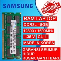 RAM NB DDR3L 8GB PC 12800/1600 MHz SODIMM LAPTOP/NOTEBOOK SAMSUNG