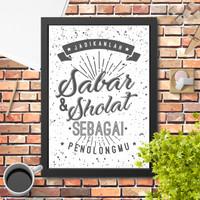 Lukisan hiasan dinding poster quote islami sholat & sabar 4 minimalis