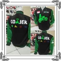 SL Custom jaket gojek Hitam Hijau Logo dada motor