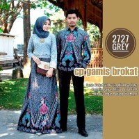 Batik Gamis Couple Burkat Modern Seragam Batik Kemeja Lengan Panjang-L
