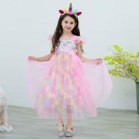 BAJUKIDDIE PRINCESS RAINBOW PINK dress anak perempuan gaun pesta baju - Size 110