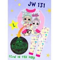 Baju Tidur Piyama Anak Perempuan JW131 Glow in the Dark LOL Star Pink