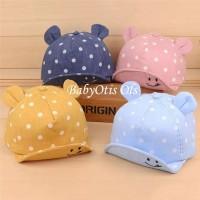 Polkadot Smile Baby Hat Topi Anak Bayi Bintik Senyum Telinga - Pink