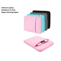 SCL04 Softcase Laptop Notebook 14 inchi Zipper Kantong Depan - pink