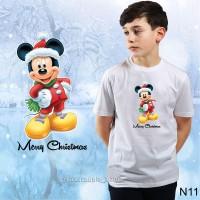 GRATIS NAMA-KAOS NATAL Dewasa/Anak TERBARU-Gambar Mickey Minnie murah.