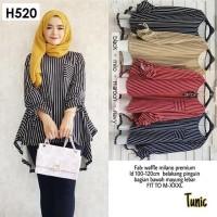 H520 TUNIK Waffle Milano Premium baju atasan wanita muslim garis modis