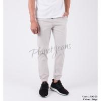 Celana Jogger Pants Jeans Cream bahan Chino / Joger Cowok JOG23- BEIGE