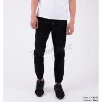 Celana Jogger Pants Jeans Hitam bahan Chino / Joger Cowok JOG23-BLACK