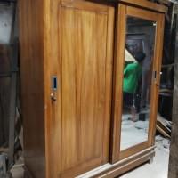 lemari 2 pintu sliding kayu jati asli