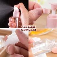 Grosir 5 In 1 Travel Toiletries Kit ( 1 Set Isi 5 Pcs Botol)