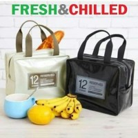 Lunch bag waterproof zipper PU / tas bekal panas dan dingin