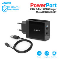 ANKER PowerPort 2 fast charging wall charger charge 2 port usb lubang