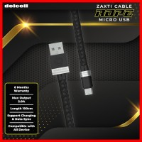Delcell Kabel Zaxti Rope Micro Charger and Data 2A Fast Charge 100cm