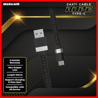 Delcell Kabel Zaxti Rope Type C Charger and Data 2A Fast Charge 100cm