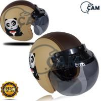 Helm SNI Bogo Kulit bordir Panda krem + kaca bogo original bukan jpn