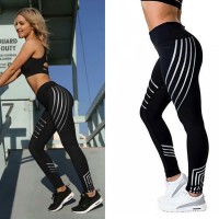 Celana Legging Sport Gym Fitness Yoga Pants Print Light Mesh