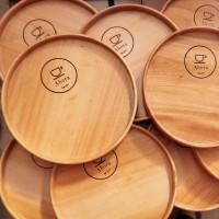 [Engraved] Round Tray / Nampan Kayu Bulat / Wooden Tray / Tatakan Kayu