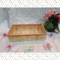 [K9s]Keranjang anyaman bambu persegi 30x17x7 cm parcel kosmetik buah