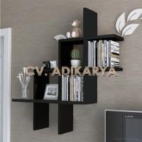 Rak Buku Kayu Dinding Minimalis Hiasan Dinding Ruangan Melayang