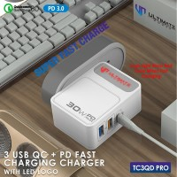 Ultimate Power 3USB QC+PD Fast Charging Charger With LED Logo