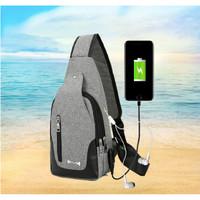 Tas Selempang Slempang Pria Sling Bag Tas Kanvas Colokan USB - B289