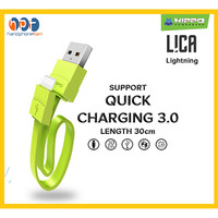 Kabel Data Charger Pendek 30cm Hippo Lica Lightning Quick Charging 3.0