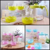Tea Pot Set 5 in 1 Tempat Minum Teh Teko Set Cangkir Kaca Teapot Kadoh