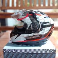 Helm KYT K2R Diamond Black White K2 Rider Full Face Double Visor Putih