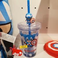 Miniso Captain America Botol Minum With Straw sedotan and Cute hero