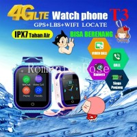 Smartwatch Anak T3 4G HD Video Call / GPS + AGPS + WiFi + LBS / IPX7