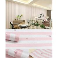 Wallpaper Dinding Motif Salur Pink Bintang 10m x 45cm