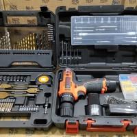 MESIN BOR TANGAN Baterai Cordless Drill 12V Habo Paket Mata Bor 70pcs