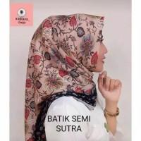 JILBAB SEGI EMPAT BATIK SEMI SUTRA / KERUDUNG BATIK SUTRA PECH