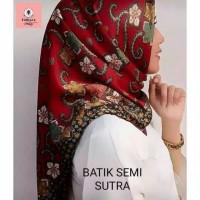 JILBAB SEGI EMPAT BATIK SEMI SUTRA / BATIK SUTRA MERAH