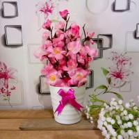 Bunga Sakura Vas Pita / Tanaman Artificial / Dekorasi / Bunga Plastik