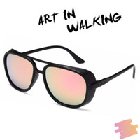 Kacamata Pria Wanita Retro Vintage Pink Desain Iron Man 3 - Lensa PINK