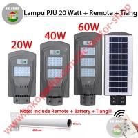Lampu Jalan PJU Solar Panel 20 Watt 20W Tenaga Surya + Remote + Tiang