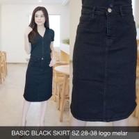 Rok Jeans Wanita Basic Black Skirt Hitam Stretch Melar Super Big Size