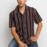 MENTLI Kemeja Stripe Pria - Arvel Casual Shirt