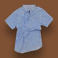 Kemeja Kasual Pria, Garis Biru-Putih, Kualitas Premium, Uk: M, L, XL - XL