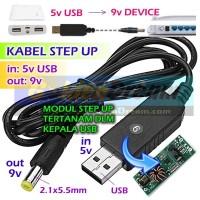 Kabel Step Up USB 5v to 9v DC Adapter Power Supply Catu Daya Emergency