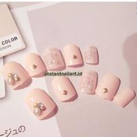 YT-030 Peach Short Fake Nails Instant Nail Art Kuku Palsu Cantik Mewah
