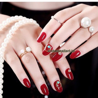 BN-733 Red Jewel Gold Kuku Palsu Merah Mewah Luxury Cantik Nail Art 3D
