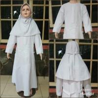 Gamis putih anak baju putih anak katun + jilbab putih size 7, 8, 9