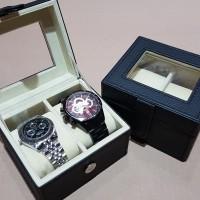 [EXPORT QUALITY]-kotak jam tangan untuk 2 slot/tempat jam black crem - Hitam