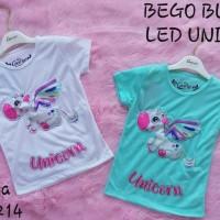 Kaos Anak Perempuan Model Baru Blus Motek Led Nyala Lampu Unicorn