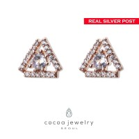cocoa jewelry Anting Twinkle Star Rose Gold Color- Silver Pin