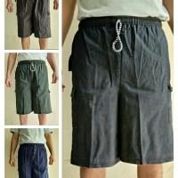 Celana pendek pria celana cargo Pants Kantong Tutup